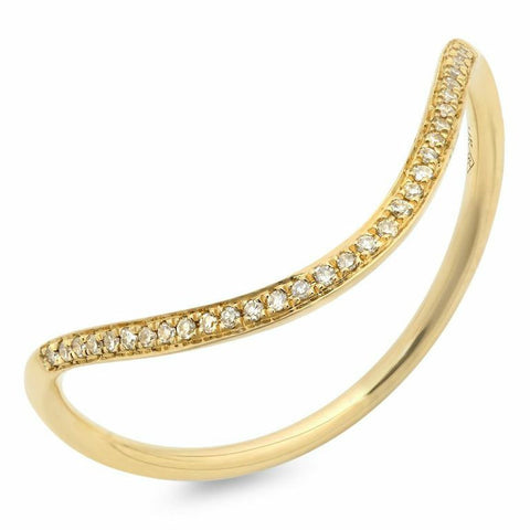 wave stacking diamond ring 14K yellow gold sachi jewelry