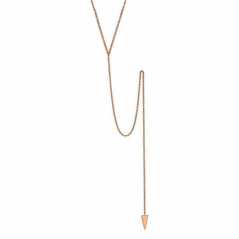 delicate dainty v lariat diamond necklace 14K rose gold sachi jewelry