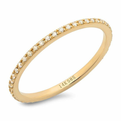 classic micro pave diamond eternity band 14k gold delicate dainty stacking sachi stacking ring