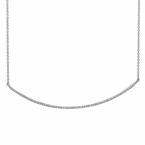 delicate dainty micro curve diamond necklace 14K white gold sachi jewelry