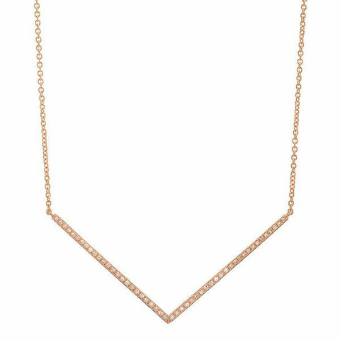 delicate dainty micro chevron diamond necklace 14K rose gold sachi jewelry