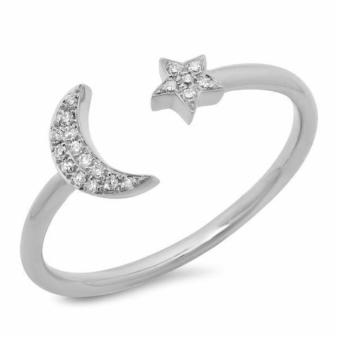 moon star diamond ring 14K white gold sachi jewelry