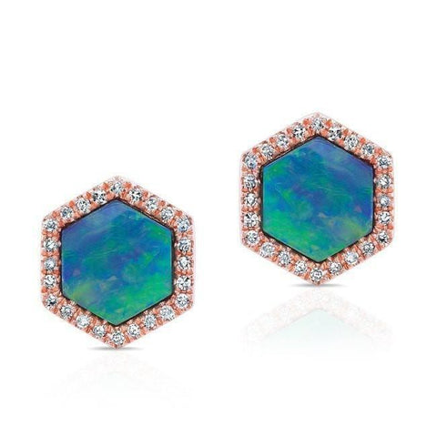 Opal Hexagon Diamond Earring Stud Rose Gold