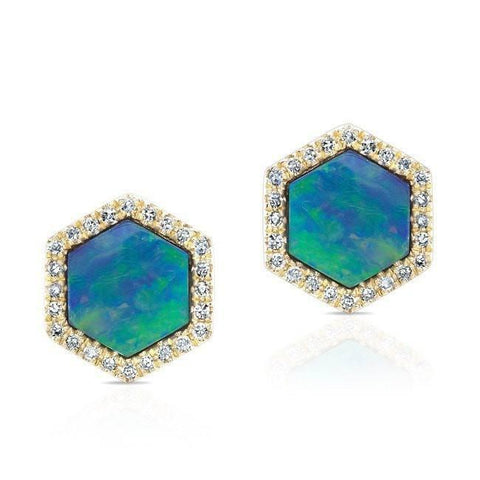Opal Hexagon Diamond Earring Stud Yellow Gold