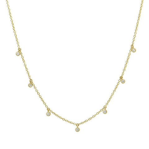 7 diamond dangling 14K solid gold delicate dainty sachi fine jewelry necklace