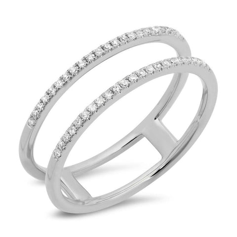 double spiral stacking ring diamond 14K white gold sachi jewelry