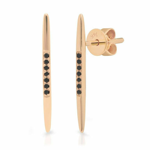 spear black diamond studs earrings 14K rose gold sachi jewelry