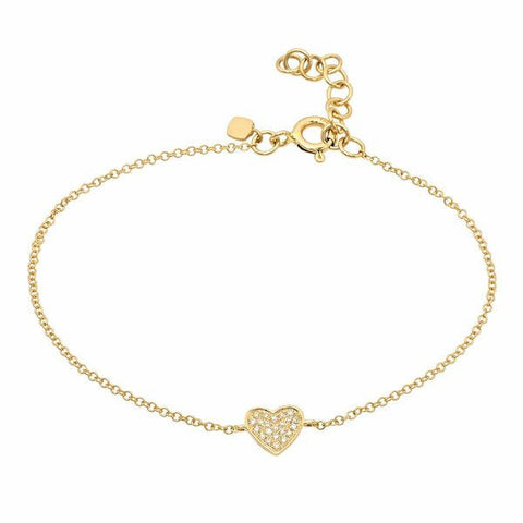 delicate dainty pave heart diamond bracelet 14K yellow gold sachi jewelry