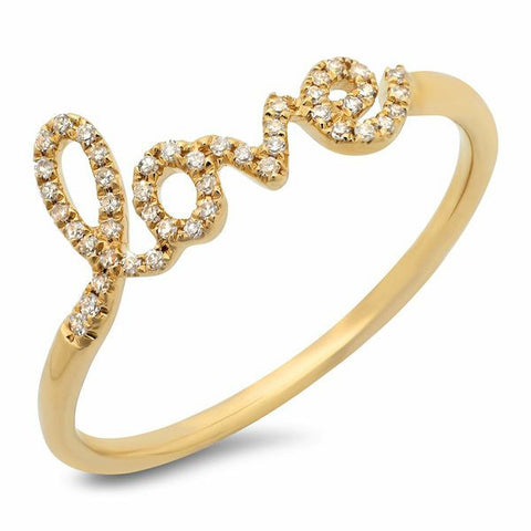 delicate love diamond ring 14K yellow gold jewelry
