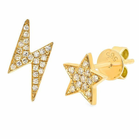 star lighting diamond studs earrings 14K yellow gold sachi jewelry