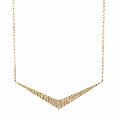wide chevron diamond necklace 14K yellow gold sachi jewelry