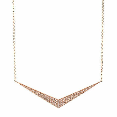 wide chevron diamond necklace 14K rose gold sachi jewelry