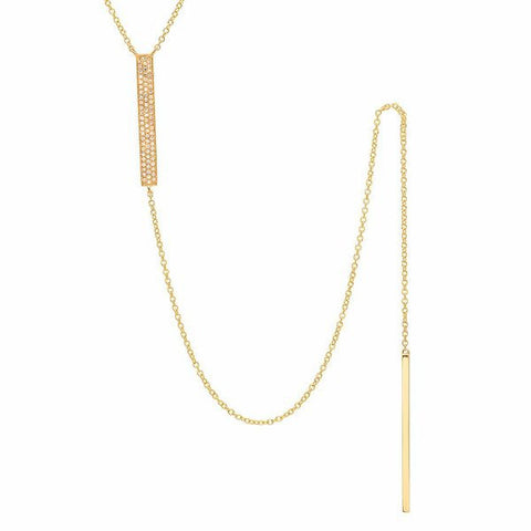 double bar lariat diamond necklace 14K yellow gold jewelry