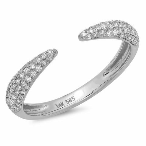 pointed claw diamond ring 14K white gold sachi jewelry