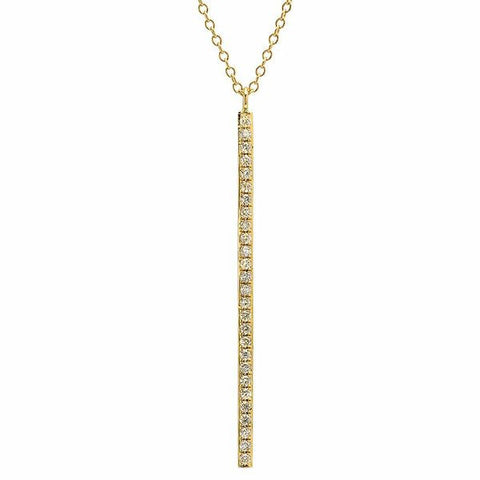 vertical bar diamond necklace 14K yellow gold sachi jewelry