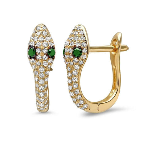 14K gold diamond snake huggies emerald eyes sachi fine jewelry edgy