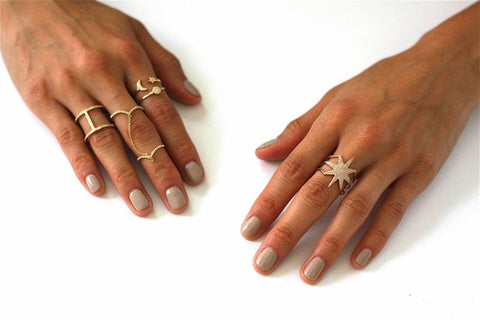 moon star diamond ring 14K gold sachi jewelry