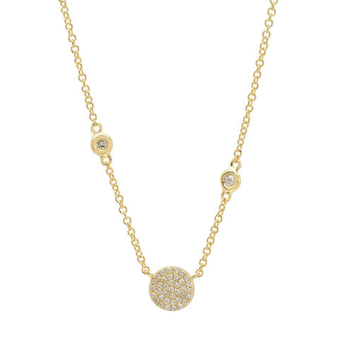 Small Disc Station Necklace with Diamond Accents