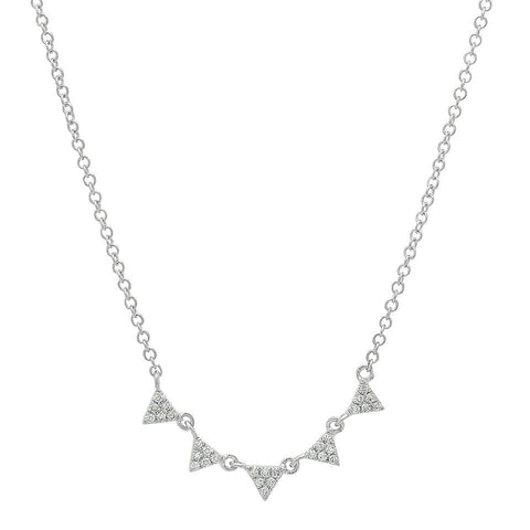 mini multi triangle diamond stacking necklace 14K white gold sachi jewelry