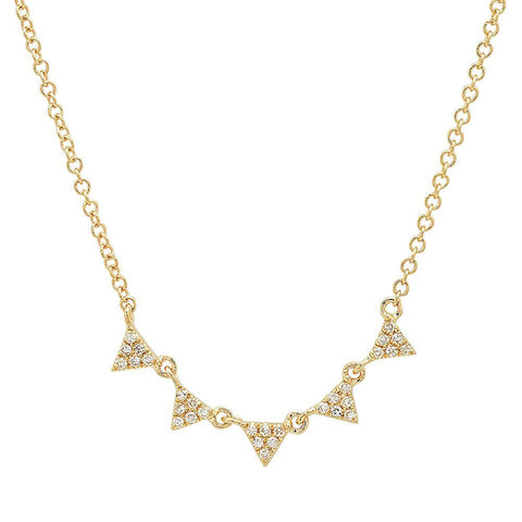 mini multi triangle diamond stacking necklace 14K yellow gold sachi jewelry
