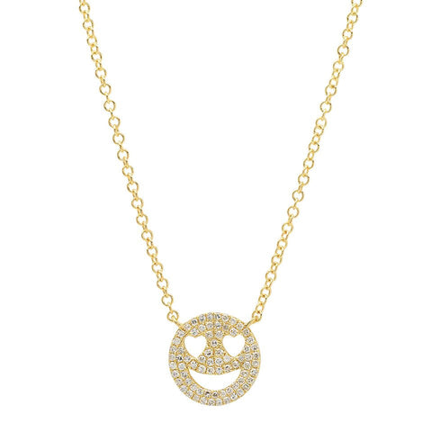 happy face emoji diamond necklace 14K yellow gold jewelry