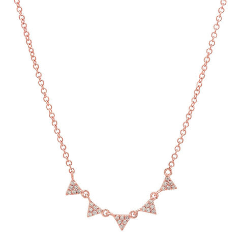 mini multi triangle diamond stacking necklace 14K rose gold sachi jewelry