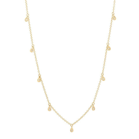 delicate dainty pear drop diamond shaker 14K yellow gold sachi jewelry
