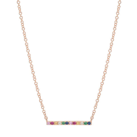 rainbow bar stone necklace 14K rose gold sachi jewelry