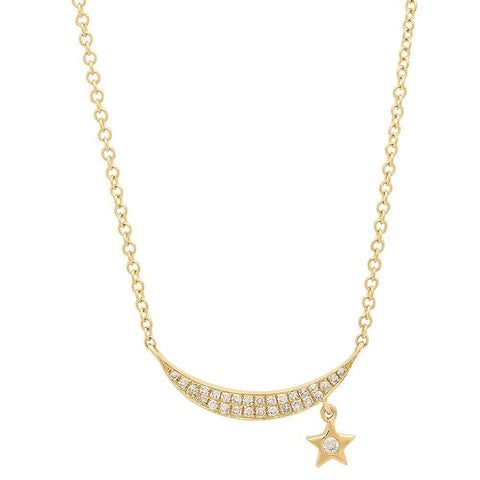 crescent moon and star diamond necklace 14k gold dainty delicate sachi jewelry