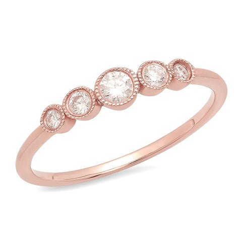 5 diamond graduated 14K solid rose gold delicate sachi fine jewelry stacking ring