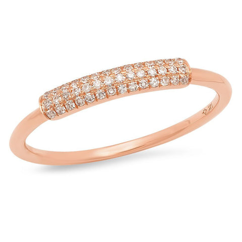 dainty pave diamond segment band ring 14K rose gold sachi jewelry