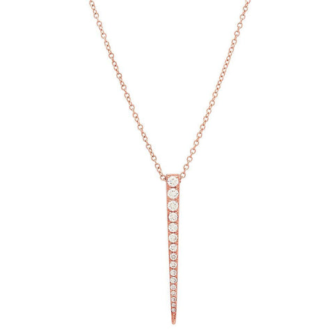 long dagger diamond dainty delicate necklace 14K rose gold sachi jewelry