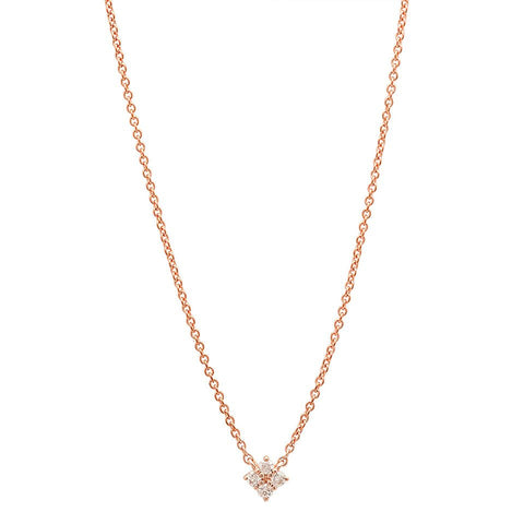 ellie diamond floating necklace dainty 14K rose gold sachi jewelry