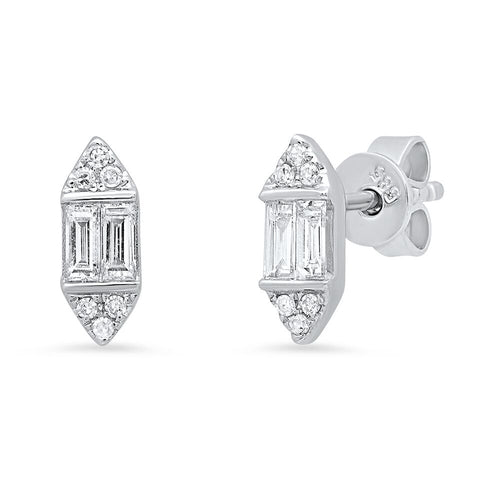 bullet diamond stud earrings architectural art deco classic sachi jewelry