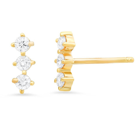 Rhombus Trio Diamond Bar Studs Sachi fine jewelry dainty