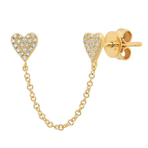 14K gold Sachi Fine Jewelry Diamond Heart Earring Stud double piercing