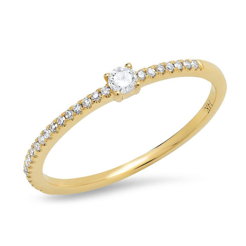 14K gold single prong diamond band sachi fine jewelry modern stacking