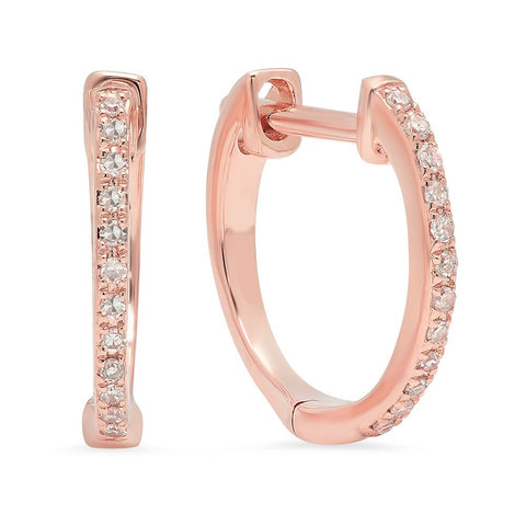 diamond huggies classic earrings rose gold sachi jewelry