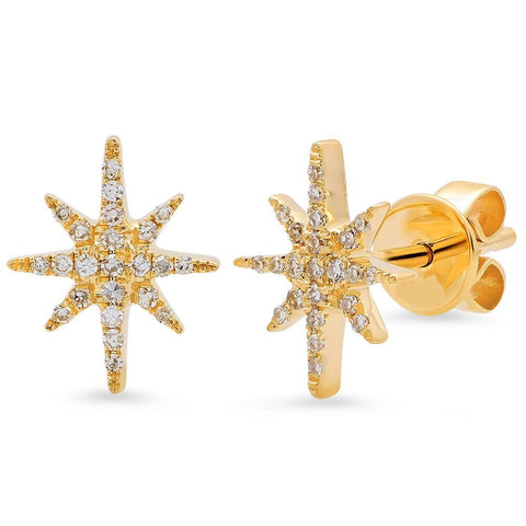 dainty starburst diamond studs earrings 14K yellow gold sachi jewelry