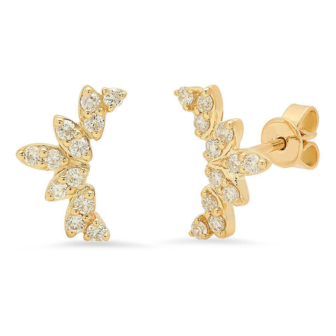 diana diamond studs crown 14K yellow gold sachi jewelry