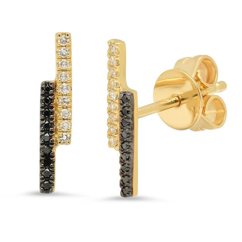 double bar white and black diamond studs earrings 14K yellow gold sachi jewelry