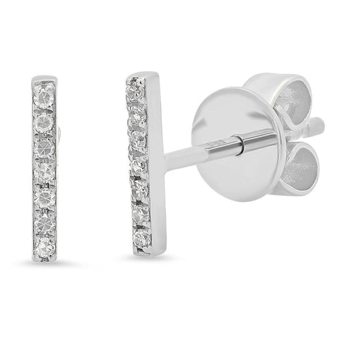 delicate dainty micro mini bar diamond studs earrings 14K white gold sachi jewelry