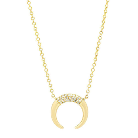 horn diamond delicate necklace 14K yellow gold jewelry