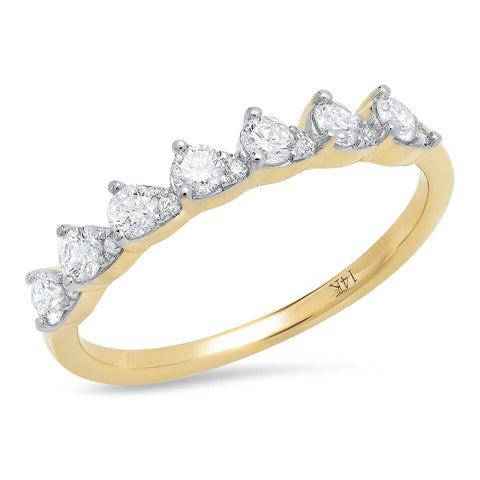 14K yellow gold pear train diamond ring sachi fine jewelry modern stacking band