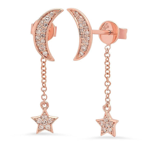 dainty moon star dangle earrings jamie chung 14K rose gold sachi fine jewelry