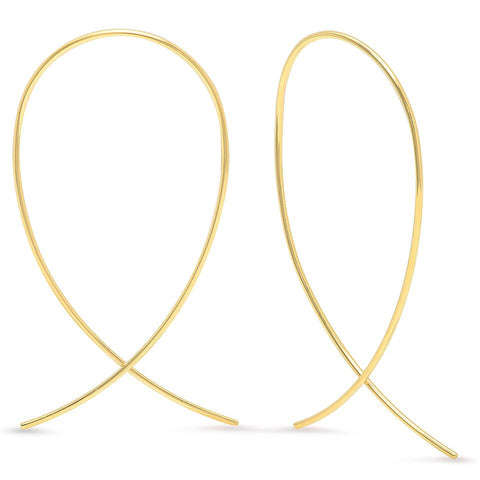 delicate dainty inverted hoops 14K yellow gold sachi jewelry