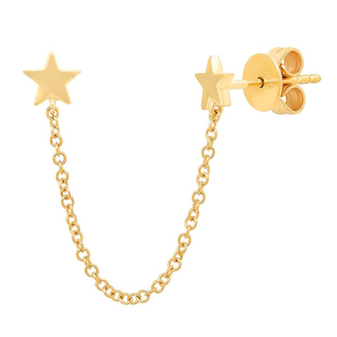 14K yellow gold star double chain edgy earring Sachi jewelry constellation