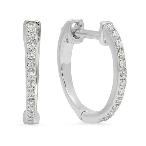 diamond huggies classic earrings 14K white gold sachi jewelry
