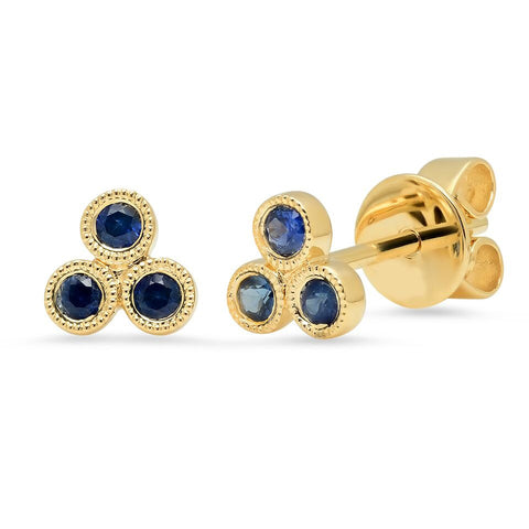 sapphire trio bezel studs earrings 14K yellow gold sachi jewelry