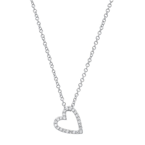 Sachi Jewelry Leaning Open Heart Diamond Necklace 14K Gold